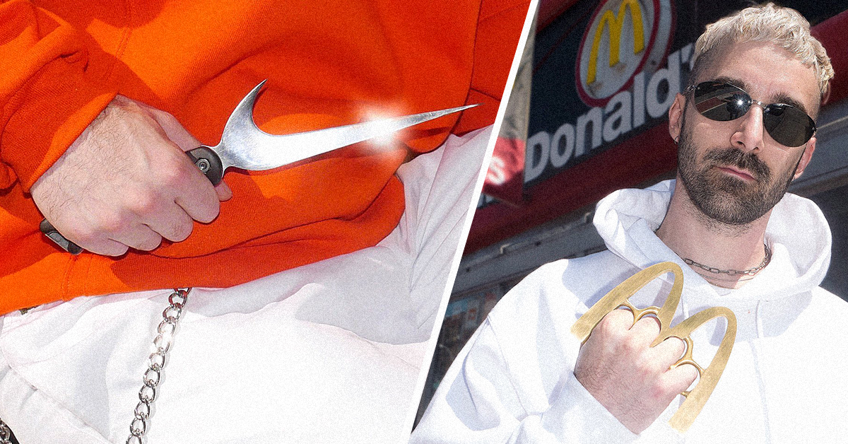 4cd4568f8b9c9c Оружие из логотипов: нож Nike, кастет McDonald's, лом Facebook и сюрикен  Mercedes